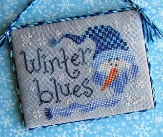 Winter Blues Freebie with fabric + floss bundle (9 skeins) Stitchy Kitty