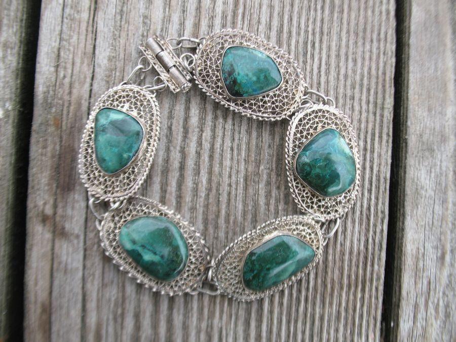 Vintage Sterling Silver Israel Eilat Stone Filigree Bracelet Old Antique