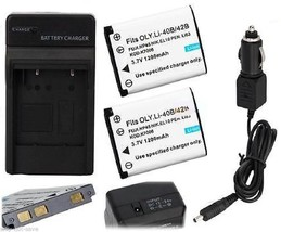2 Battery with car wall Charger for NIKON EN-EL10 CoolPix S220 S230 S300... - $23.98