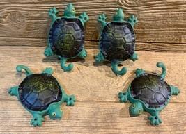 "Cast Iron Green & Black Tortoise w/ Tail Hook 5 1/2"" tall (Set of Four) ... - $34.00"