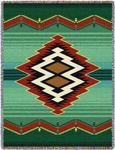 70x53 TARAK Southwest Native Green Tapestry Afghan Throw Blanket - $60.00
