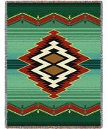 70x53 TARAK Southwest Native Green Tapestry Afghan Throw Blanket - $60.00