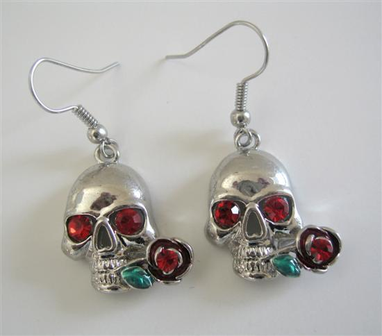 Hematite Skull Earrings Skeleton Jewelry Pierced Earrings w/ Red Eyes