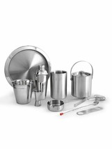 Stainless Steel Silver Plain Bar Set, Bar Tools, Bar Accessories Set of ... - $139.91