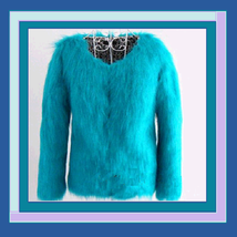 Turquoise or White  Dyed Long Hair Faux Fox Fur Coat Jacket Mid length