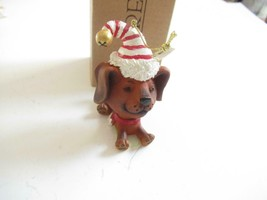 CHRISTMAS ORNAMENTS WHOLESALE- RUSS BERRIE- #18700-DOG W/RED/WHITE CAP- ... - $2.70