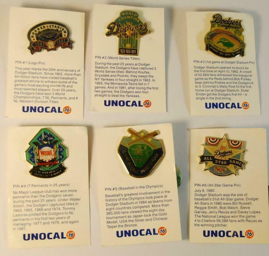 1987 Lot of Unocal 76 Gas & Oil Los Angeles Dodgers Anniversary Pins Promos