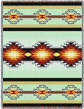 70x53 SEVAH Southwest Native Green Tapestry Afghan Throw Blanket - $60.00