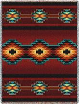70x53 ESME Southwest Native Red Tapestry Afghan Throw Blanket - $60.00