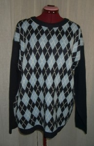 s28 Mens Navy Blue Argyle Sweater Size Large 44 Whispering Smith London