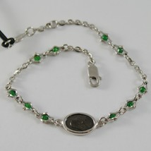 925 SILVER BRACELET WITH EMERALD AND VIRGIN MARY MEDAL BY ZANCAN MADE IN ITALY image 1