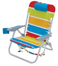 Rio Beach Lace-up Aluminum Backpack Chair, Turquoise/Yellow/Lime/Red Stripe - $48.66