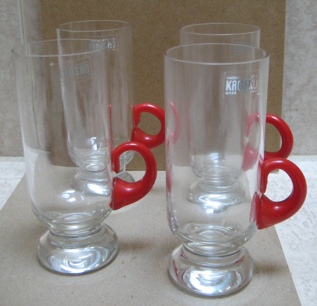 4 Lead Crystal Krosno Poland Tall Handled Mugs