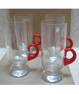 4 Lead Crystal Krosno Poland Tall Handled glass mugs - w red handles - c... - $25.00