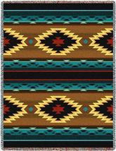 70x53 ANATOLIA Southwest Native Blue Brown Tapestry Afghan Throw Blanket - $60.00