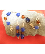 Earrings and Bracelet Set - Sterling Silver, Vintage Glass B - $24.99