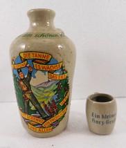 German Wine Liqueur Pitcher & mini cup Es Grune Die Tanne es Wachse Das Erz - $38.22