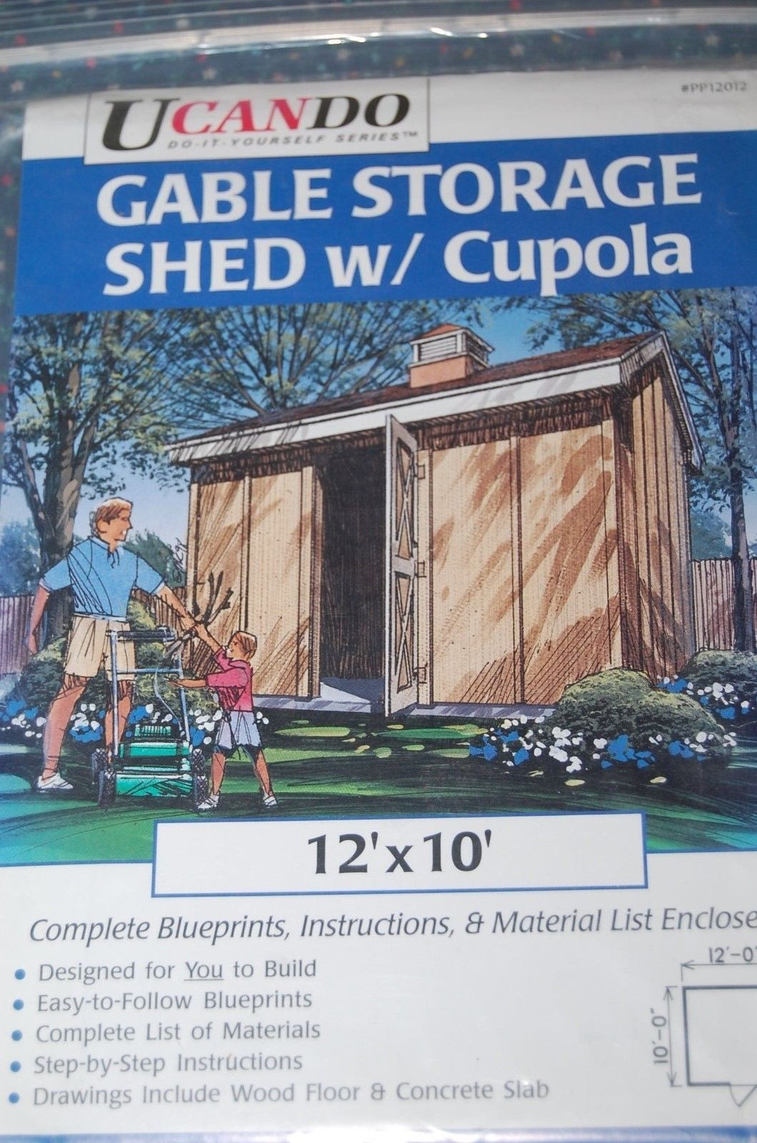 UCANDO~#PP12012~Gable Storage Shed w/Cupola~Blueprints for 12' x 10'