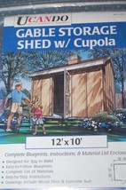 UCANDO~#PP12012~Gable Storage Shed w/Cupola~Blueprints for 12' x 10' - $9.79