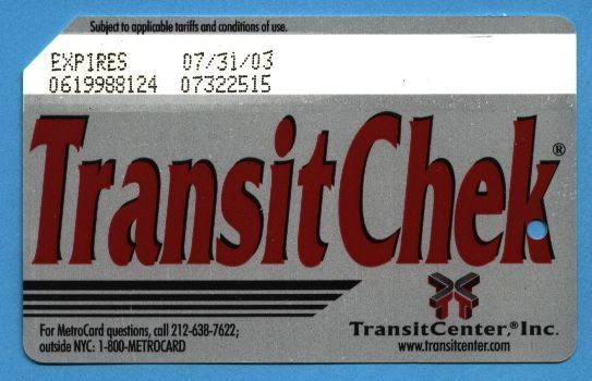 NYC TransitChek Metrocard