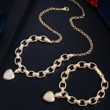 CWWZircons 585 Gold Color Cubic Zirconia Dangle Love Heart Shape Charm Bracelet  - $49.42