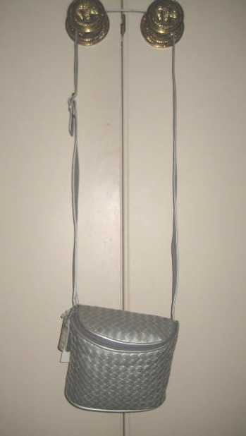 Brand NEW Woven SILVER LEATHER SHOULDER BAG w tags