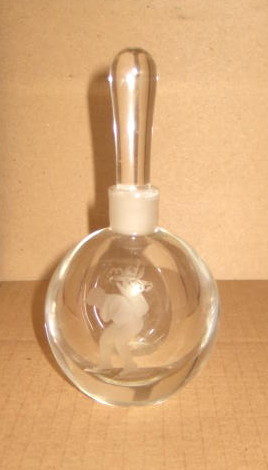 1930's Art Deco Lead Crystal Perfume Flask w/ Cupid