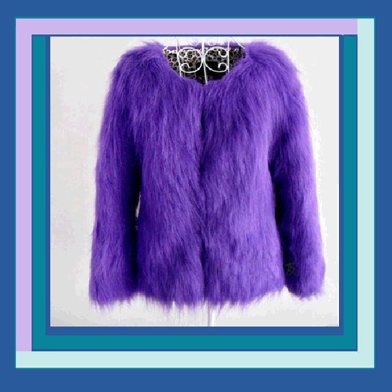 Purple or Khaki Dyed Long Hair Faux Fox Fur Coat Jacket of Medium Length