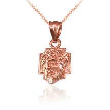 10K Rose Gold Tiny Jesus Face Cross DC Charm Necklace - $59.99+