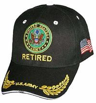 US Army Retired Baseball Cap, Black Hat with Emblem Logo, Adjustable, Embroidere - £9.74 GBP