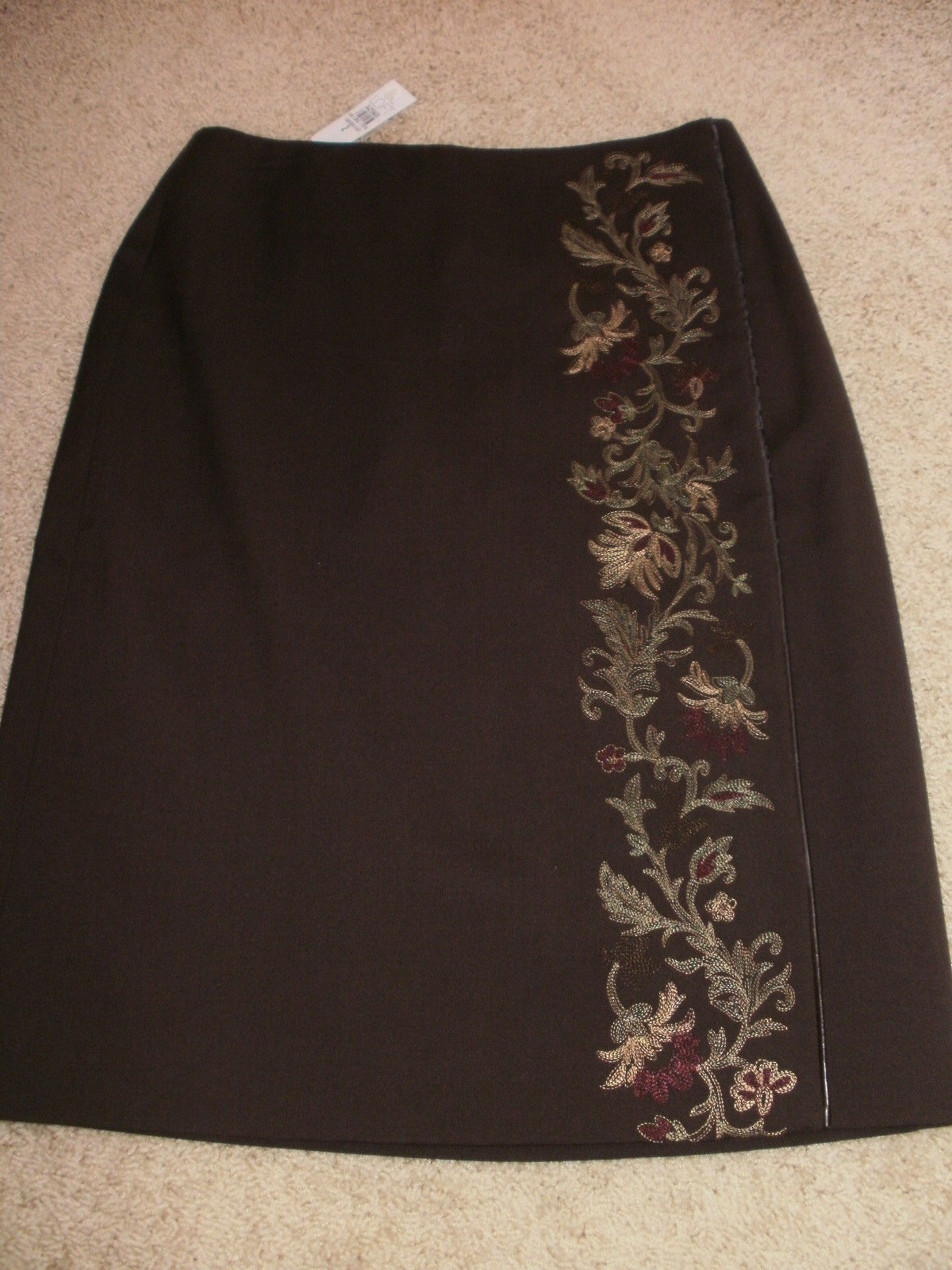 d4e4063317 S l1600. S l1600. Previous. NEW NWT Ann Taylor LOFT Embroidered Brown Wool  Blend Faux Wrap SKIRT Ms Size 2