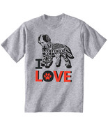 Saint bernard dog - I love b - NEW COTTON GREY TSHIRT ALL SIZES - $19.91