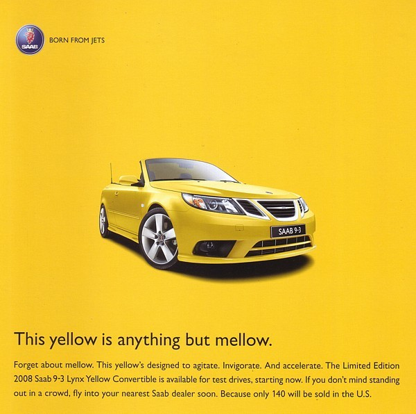 2008 SAAB 9-3 Convertible LYNX YELLOW LIMITED EDITION sales brochure sheet