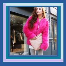 Fuchsia Pink Watermelon Red Pepper Long Hair Faux Fur Coat Jacket  Mid L... - ₨4,957.63 INR+