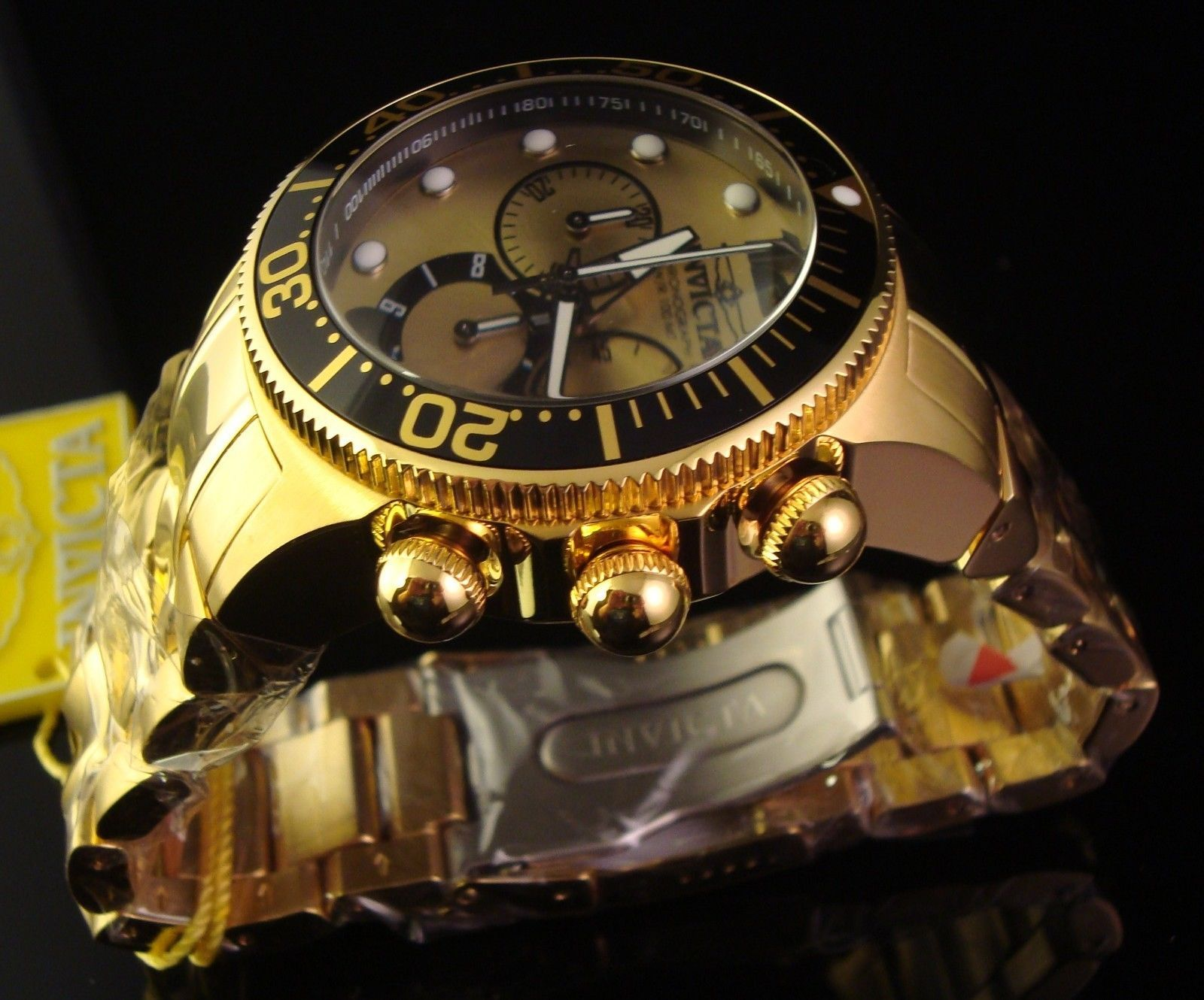 NEW MENS INVICTA LUPAH S.S. 18K GOLD PLATED CHRONOGRAPH W GOLD TONE & BLACK DIAL
