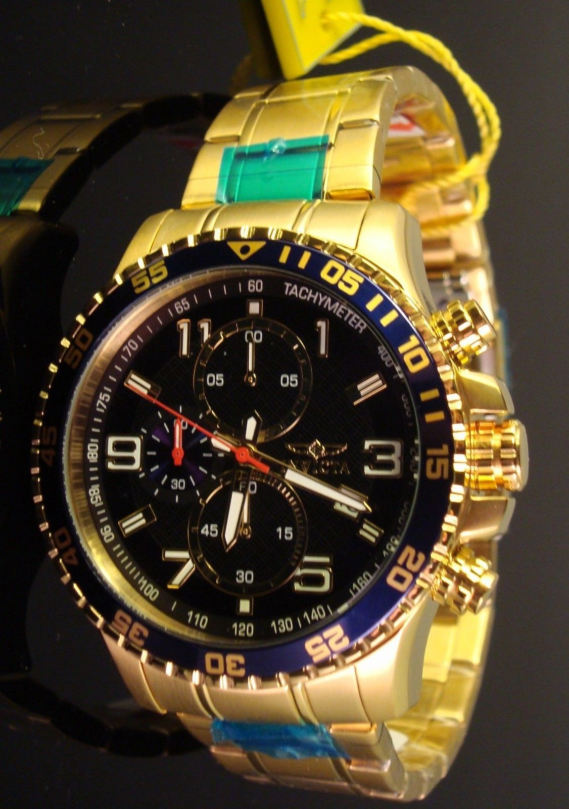 NEW MENS INVICTA 18K GOLD PLATED SPECIALTY COLLECTION -DARK BLUE TEXTURED DIAL
