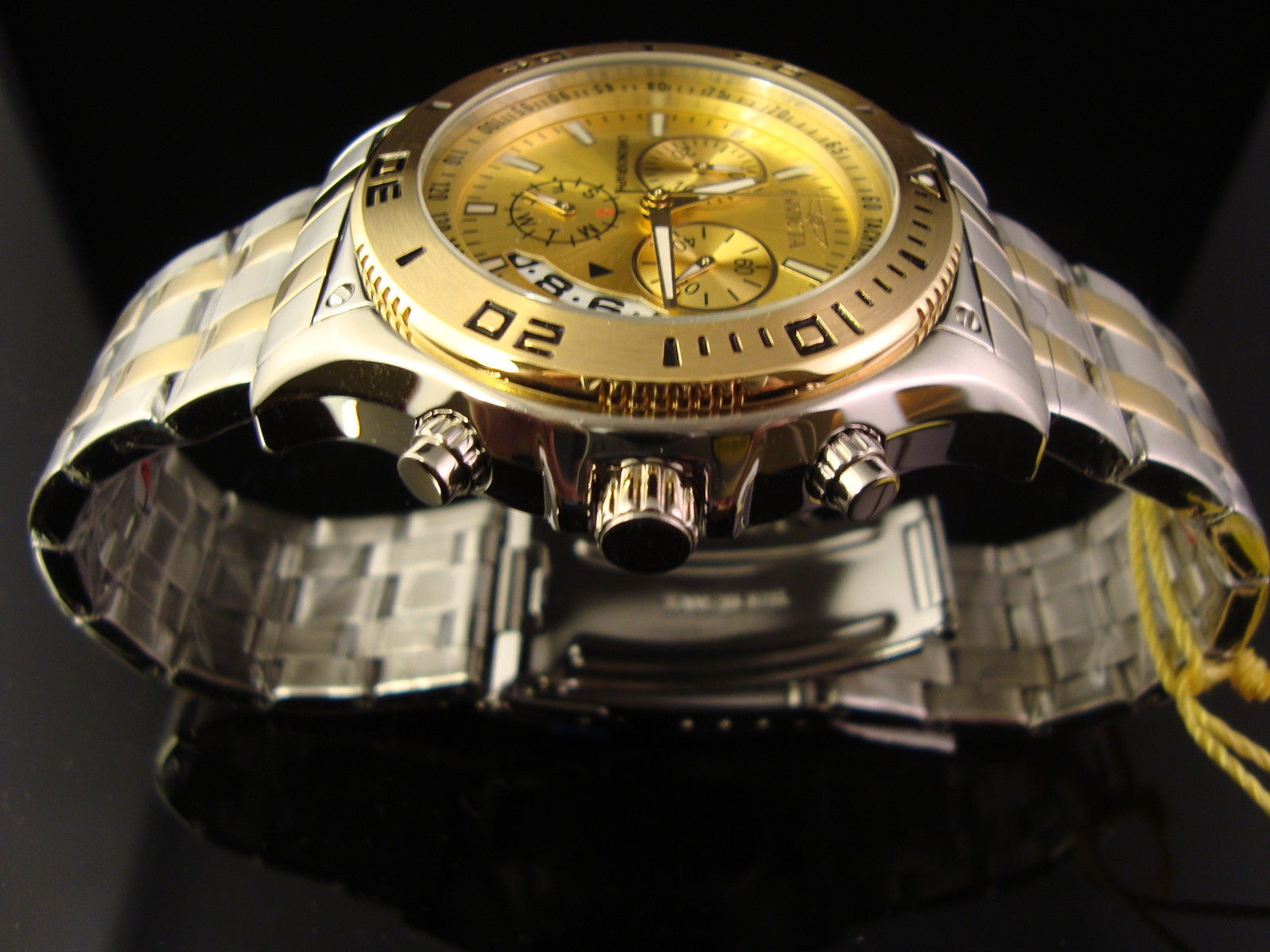 NEW INVICTA MENS RARE 18K  2 TONE GOLD ION AND SILVER PLATED CHRONO W GOLD DIAL