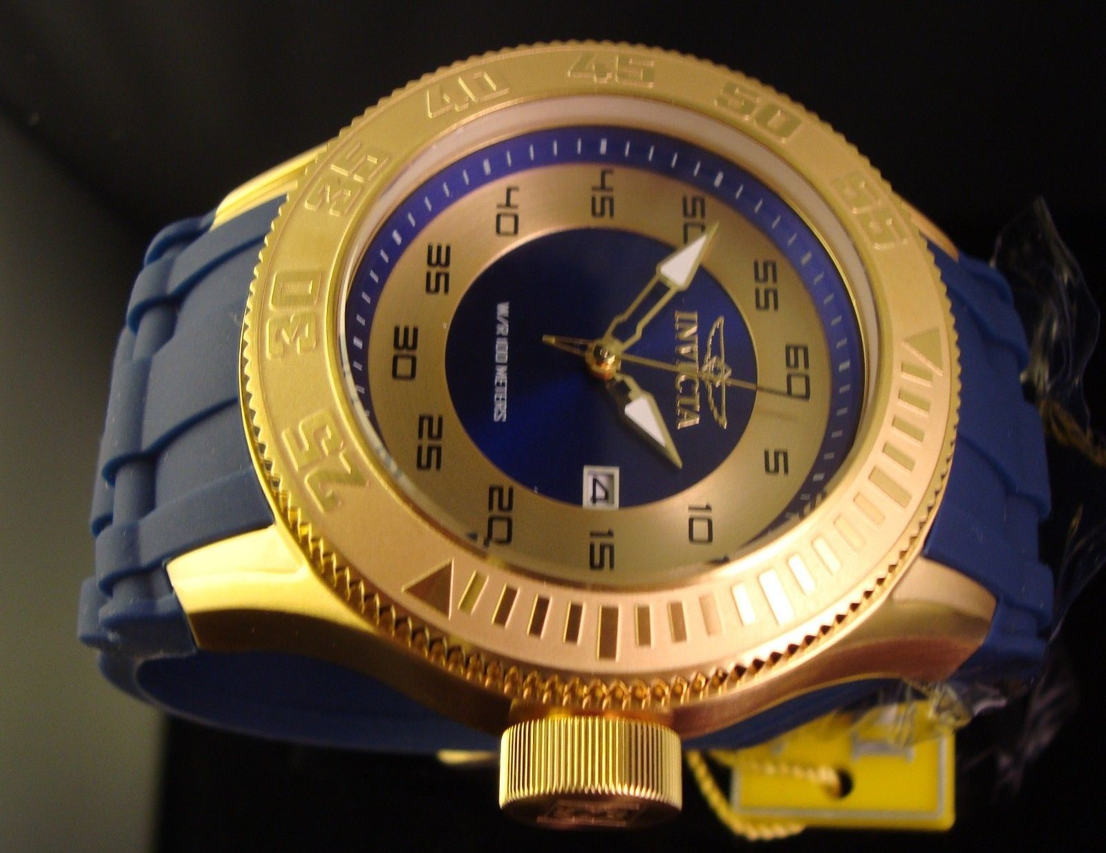 NEW MENS INVICTA 18K GOLD PLATED W BLUE POLY BAND PRO DIVER-STUNNING GOLD DIAL