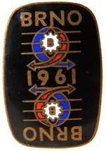 1961 CZECH BRNO INTERNATIONAL EXHIBITION ENAMEL BADGE PIN - $14.99