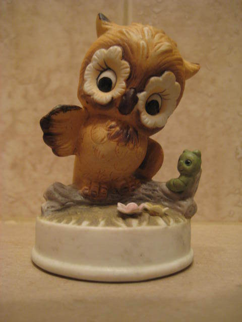 Adorable Bisque Owl Marked 346 bottom - MINT