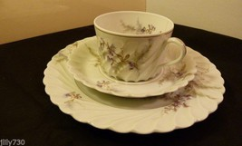 Haviland Limoges Orsay Swirl Pattern Orchids Trio Set Cake Plate, Cup & Saucer - $24.99