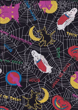 GHOST SPIDER WEB HAUNTED HOUSE HALLOWEEN FABRIC OAKHURST TEXTILES  - $12.99