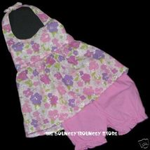 NEW NWT 2 Pc PINK FLORAL HALTER Dress Outfit Sz... - $9.99