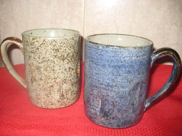 2 Matching Art Pottery Mugs- Never used Artist Unknown
