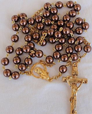 Brown and gold pearls rosary 1