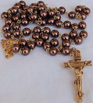 Artificial brown colored pearls beads rosary