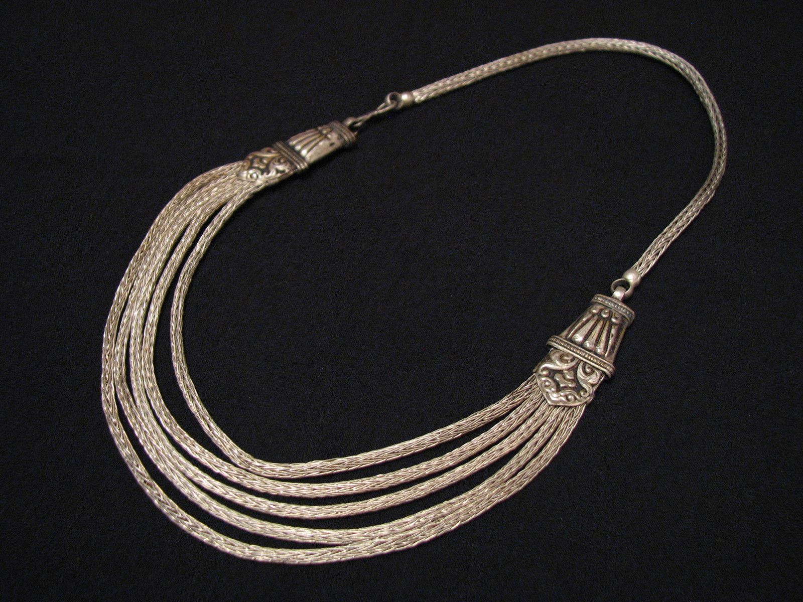 Antique Tribal Sterling Silver Byzantine Woven Multi Chain Bib Choker Necklace
