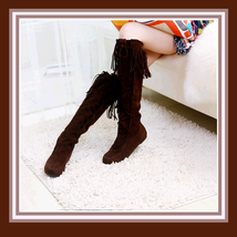 Tassel Fringe Suede Brown Faux Leather Lace Up Knee High Moccasin Trail Boots