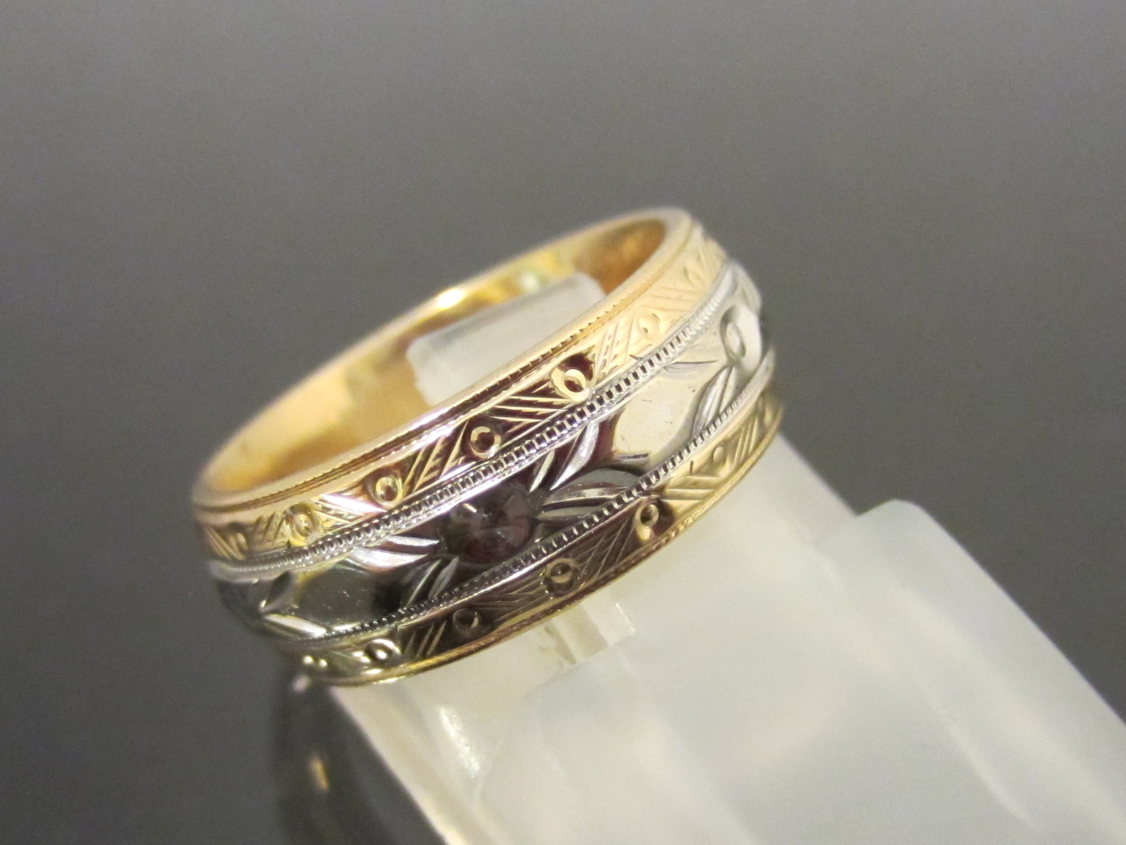antique 14k solid yellow white gold engraved wedding