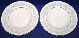 "Lovely Pair Of Royal Doulton England Meadow Mist 8"" Rimmed Soup Bowls - $49.64"